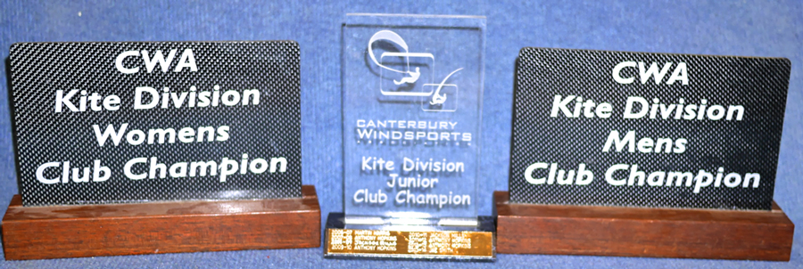 CLUB CHAMPION TROPHIES. For the best performing kiter across the season